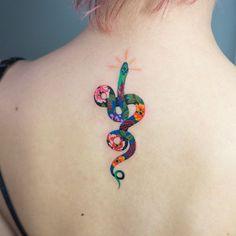 """9,812 Likes, 97 Comments - Zihee_tattoo (@zihee_tattoo) on Instagram: """"Flower snake"""""""