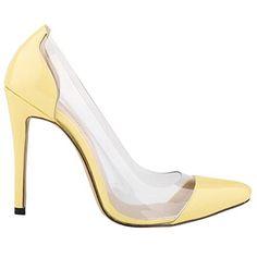 Loslandifen Womens Shoes Closed Toe High Heels Women's Pointed Slender Leather Pumps (42 M EU,C-yellow)