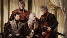 Aegon V e seus filhos, Duncan (esquerda), Jaehaerys II (centro) e Daeron (direita). Ilustração por Karla Ortiz para O Mundo de Gelo e Fogo.