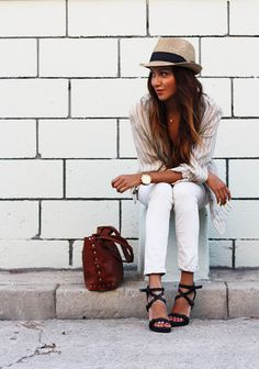 love this outfit from her hat down to her shoes, but not the white :)