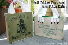 Diary of a Crafty Lady: Felt Trick or Treat Bags - Harry Potter Edition!