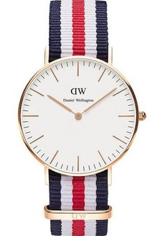 The Daniel Wellington Classic Canterbury. This sophisticated watch features a blue, white and red NATO strap, a stainless steel case and an eggshell white dial with silver coloured hands and markers. Daniel Wellington Classic, Daniel Wellington Watch, Urban Jewelry, Gold Jewelry, Jewellery, Nato Strap, Rose Gold Watches, Best Watches For Men, Canterbury