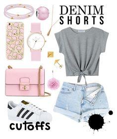 """Denim shorts with pink"" by natkurii on Polyvore featuring adidas, Dolce&Gabbana, Lanvin, LC Lauren Conrad, Pandora, Allurez, Gucci, jeanshorts, denimshorts and cutoffs"