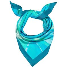 Madison Knight - Pacific Blue Arden Silk Scarf ($165) ❤ liked on Polyvore featuring accessories, scarves, print scarves, blue scarves, blue silk scarves, pure silk scarves and blue shawl