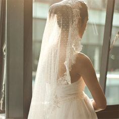 Wedding veil, cathedral veil, Dotted Point d' Esprit Cathedral Veil, Bridal Veil, Swiss Dot Veil --ELLA