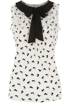 Cat Print Ruffle Neck Blouse