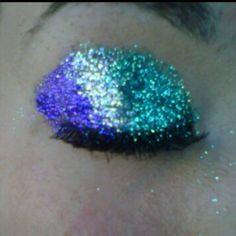 Eye, eyelash, sparkle, cheerleading, purple, teal! Love