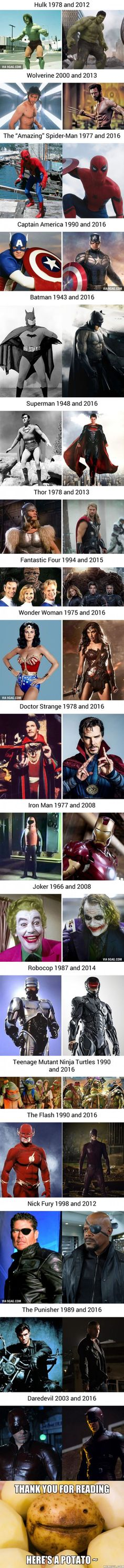On Screen Superheros Then And Now