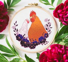 Perfect for home decor or as a cute handmade cross-stitch picture for your loved one. Click the link and see more patterns! Cross Stitch Patterns, Crochet Patterns, Cute Chickens, Cross Stitch Pictures, Valentines Day, Etsy Seller, Create, Link, Handmade