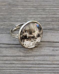 Unique handmade artistic ring Ink Clouds