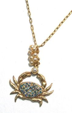Amazon.com: Catherine Popesco 14k Gold Plated Blue Crab Pendant Necklace with Swarovski Crystals: Jewelry