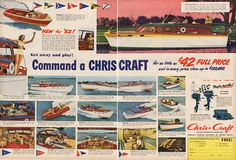 Large Antique 1951 Chris Craft Motor Boat Advertising Magazine Print Ad - Approx 21 x 14 - Suitable for framing