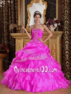 Hot Pink Strapless Appliques Pick-ups and Ruffles Dress for Quince