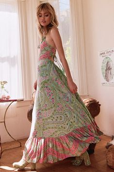 48f224190 SPELL AND THE GYPSY COLLECTIVE CELESTIAL CITY LIGHTS STRAPPY MAXI DRESS  SAGE Bohemian Soul, Hippie