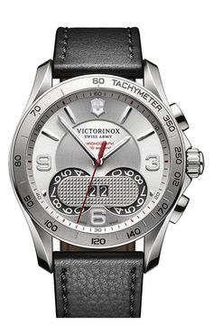Free shipping and returns on Victorinox Swiss Army® Chronograph Leather Strap Watch, 41mm at Nordstrom.com. A bold, easy-to-read date function details the handsome dial of this classic Swiss-made watch finished with a precise tachymeter bezel and a rich leather strap. A triple-coated sapphire crystal face ensures the watch is antireflective and scratch-resistant.
