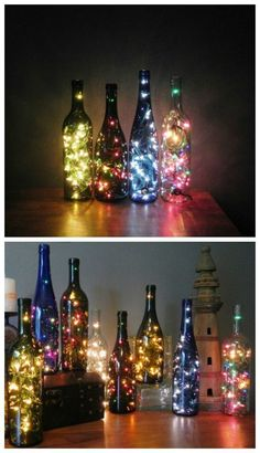 Fill bottles with string lights.Drill a hole in the bottom of an empty wine bottle and thread the cord through, then fill the bottle with string lights. This effect works well with multiple bottles. Such a beautiful DIY craft project Creative Crafts, Diy And Crafts, Creative Things, Wooden Crafts, Jar Crafts, Creative Decor, Light Decorations, Christmas Decorations, Room Decor With Lights