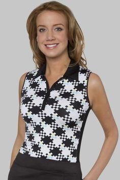 Callaway Ladies Golf Graphic Energy Collection: Blue Hills Print Sleeveless Polo - BEFK0073 l PinksandGreens.com