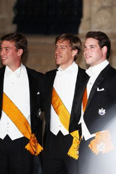 (L-R) The Luxembourg brothers Prince Sebastien, Prince Louis and Prince Felix