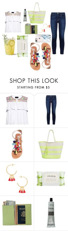 """""""Pack and Go : Trip to Santorini, Greece"""" by stellapi19 ❤ liked on Polyvore featuring Saloni, Hudson, Steve Madden, Merona, Gorjana, Forever 21, Royce Leather, Aesop and Casetify"""