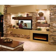 Modern Flames Fantastic Flame Linear Electric Fireplace - Wall Mount or Recessed House Design, Room Design, House, Modern Flames, Tv Wall Design, Fireplace Design, New Homes, House Interior, Living Room Tv Wall