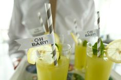 Baby Shower Drinks with Gray Paper Straws