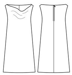 Bernina kostenlos Schnittmuster kleid mit wasserfallausschnitt fuer Damen Zeichnung