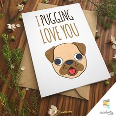 PUG LOVE CARD pun pet dog cute lesbian gay love by ecolorty Paper & Party Supplies Paper Greeting Cards Birthday Cards pug love pug art greeting card dog puppy poster print printable download boyfriend girlfriend for husband for wife dog love puppy cute emoji pet watercolor pugs