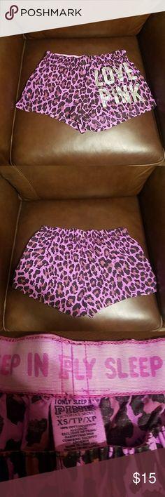 XS PINK SLEEP SHORTS Gently used purple leopard print PINK sleeping shorts PINK Intimates & Sleepwear Pajamas
