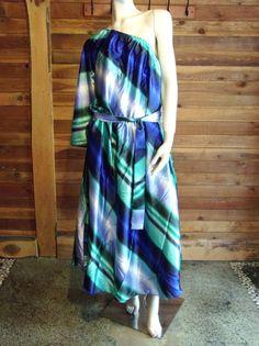 NWT ASHRO GREEN BLUE STRIPED SATIN SIZE XL - XXXL DRESS  #ASHRO #OneShoulder #Casual