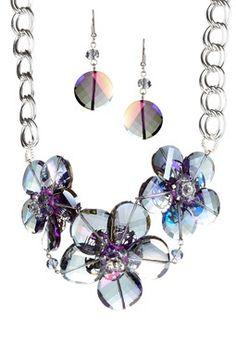 Jewelry by Felicia Amethyst Hawaiian Flower Necklace & Earrings Set