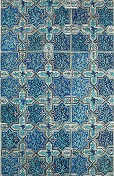 Tile panel (48.351). Iran, nineteenth century. Stonepaste: molded and underglaze-painted. Doris Duke Foundation for Islamic Art, Honolulu, Hawai'i. (Photo: David Franzen, 2009.)