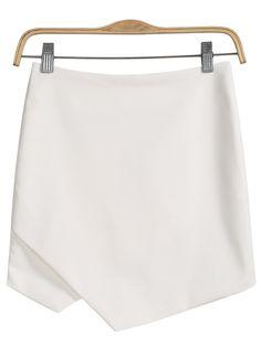 jupe moulante asymétrique -blanc