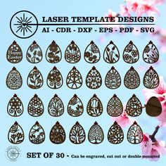 Perfect to laser cut with the Glowforge Epilog, Trotec Laser or Cricut. Instant Digital Download. File comes in AI, EPS, DXF, PDF and SVG files. Hanging Easter Eggs, rabbits and flowers. Trotec Laser, Pastel Colors, Colours, Silhouette Studio Designer Edition, Vinyl Cutting, Egg Decorating, Happy Easter, Cricut Design, Easter Eggs