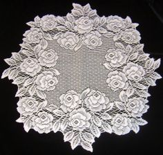 """Beautiful! Shabby Chic Victorian Petal PINK ROSES Lace Doily 15"""" $6.99"""