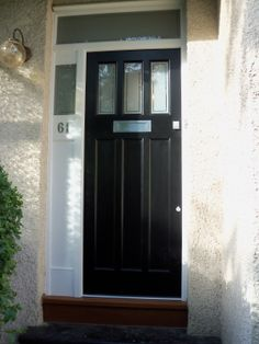 Front door with half window, above timber panel, our window would be larger