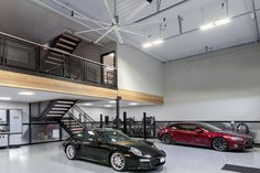 See how Big Ass Fans helped make this garage space more inviting with Big Ass lighting and improved airflow. Garage Loft, Garage House, Car Garage, Dream Garage, Warehouse Home, Warehouse Design, Steel Building Homes, Building A House, Craftsman Style Kitchens