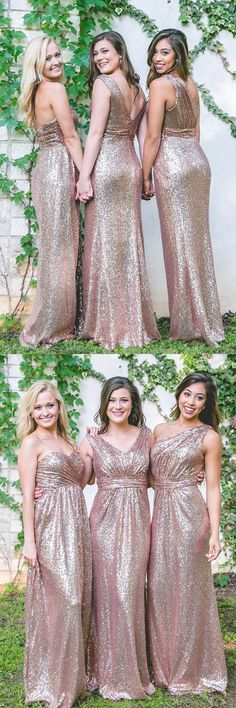 sparkly sequins rose gold bridesmaid dress, long bridesmaid dress, wedding party dress