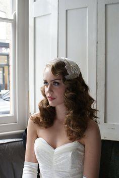 Vintage style bridal headdress 'Silver Screen by AgnesHart on Etsy, $325.00