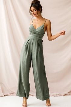 Buy the nancy wide leg pinstripe jumpsuit olive selfie leslie fashion versatile buttoned jumpsuit jumpsuit Prom Jumpsuit, Jumpsuit Dressy, Jumpsuit Outfit, Overalls Outfit, Summer Jumpsuit, Fitted Jumpsuit, Long Jumpsuits, Jumpsuits For Women, Fashion Jumpsuits