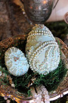 Decorative Easter Eggs Set of 2 sparkly Aqua by OrnateSplendor