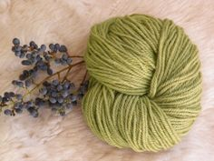 dyed textile - wool yarn mordanted with alum and cream of tartar, and dyed with privet berries