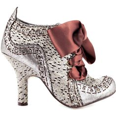 Irregular Choice Women's Abigails Party - Silver ($85) ❤ liked on Polyvore featuring shoes, boots, ankle booties, heels, vintage shoes, silver booties, brown ankle booties, heel boots, high heel boots and silver boots