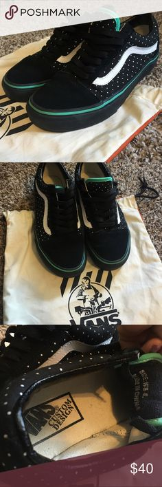 One Of A Kind! Custom exclusives! Custom designed shoes! **Great Condition, only worn once for a specific event *Comes with its own bag! **Super cute Mint and Polka Dots combo! *Worn Twice! *GREAT CONDITION! ***MAKE ME AN OFFER! BUNDLE for an even better deal! Everything must go! Vans Shoes Sneakers