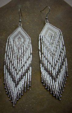 White and Silver Dangle Earrings Beaded Earrings by Anabel27shop #earrings…
