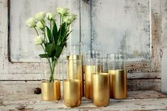 Gold wedding decor  6 CUSTOM Gold dipped by thepaisleymoon on Etsy