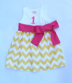 Yellow Chevron Tank Dress Monogramming Included by CharlieandMills, $35.00