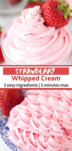 Homemade strawberry whipped cream using only 3 ingredients! Use this strawberry whipped cream as frosting for cupcakes cake and pie! This whipped cream is stable and you can pipe it! Whipped Icing Recipes, Strawberry Frosting Recipes, Whipped Cream Icing, Homemade Whipped Cream, Cupcake Recipes, Cupcake Cakes, Dessert Recipes, Strawberry Desserts, Strawberry Filling For Cupcakes