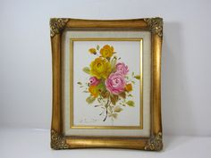 Vintage Original Rose Canvas Painting with Yellow and Pink Roses Signed by Edward in a Gold Gilded Frame by littlewoodenhouse on Etsy