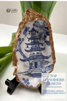 Our oyster shell jewelry dish with the Chinoiserie design is a great piece to display. This is a great gift for the blue and white lover! Jewelry Dish, Shell Jewelry, Willow Pattern, Customized Gifts, Custom Gifts, Ring Dish, Craft Box, Shell Crafts, Hostess Gifts