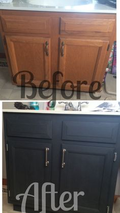 Annie Sloan chalk paint in graphite on our bathroom vanity.